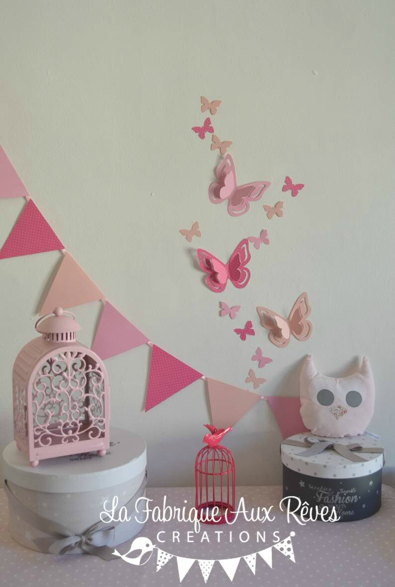 Decoration Papillon Chambre Bebe : Decoration chambre fille papillon
