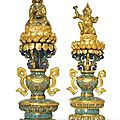 Two important and rare imperial chinese cloisonne buddhist altar pieces. qianlong period (1736-1795)