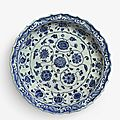 A fine blue and white barbed rim 'floral scroll' dish, Ming dynasty, Yongle period (1403-1424)