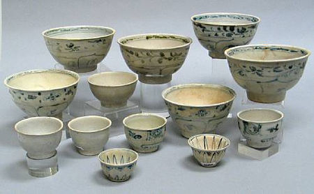 selection thirteen bowls and cups. Late 15th/Early 16th Century