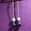 10 Boucles d'oreille en perle de rivère et lapis lazuli. 5 €