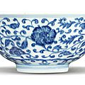 A blue and white ming-style 'floral' bowl, yongzheng mark and period (1723-1735)
