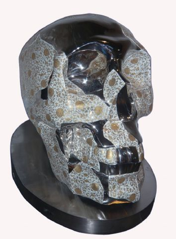 Feng Shu, SKULL, 2008, Hand painted ceramic & stainless steel, U
