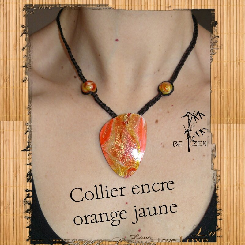 Collier encre orange jaune