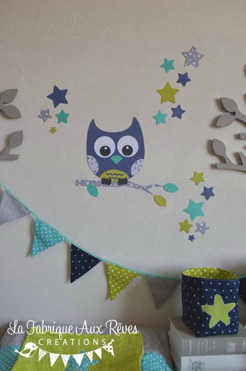 Stickers hibou toiles turquoise anis marine gris for Collection chambre bebe garcon