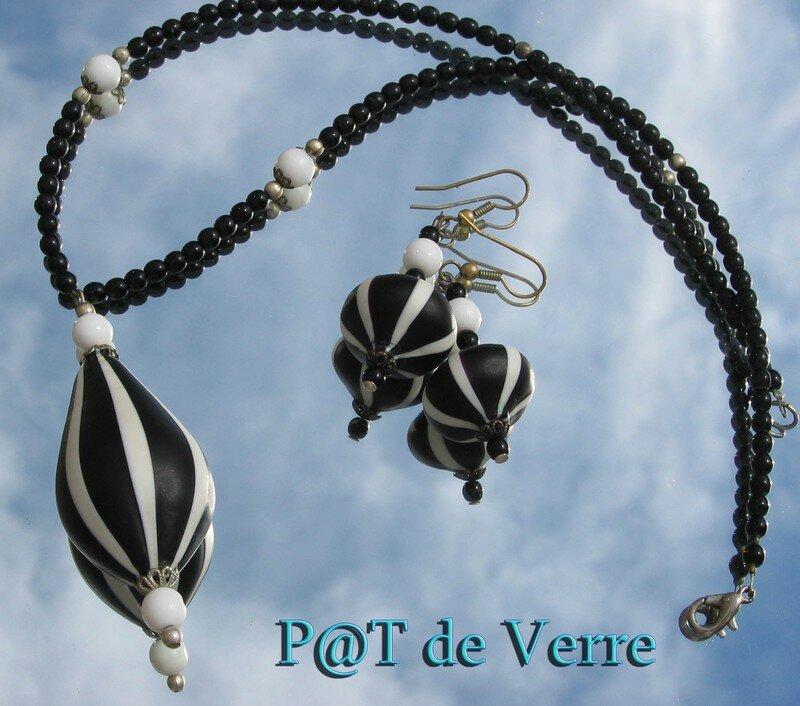 Parure perles noires et blanches Murano soufflées 1a