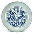 A rare and large blue and white 'dragon' dish, jiajing mark and period (1522-1566)