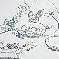 Parure de bijoux mariage argenté avec perles de nacre et perles turquoises