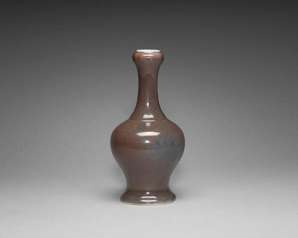 An unusual underglaze-blue and langyao-glazed garlic-neck vase, Kangxi six-character mark and possibly of the period