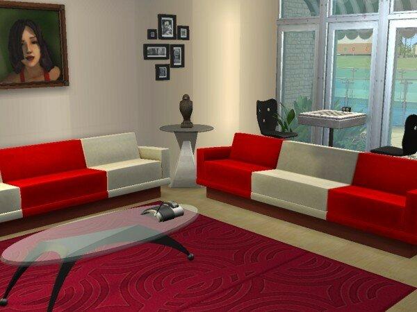 Villa cannoise maisons deco sims2 - Salon rouge et blanc ...