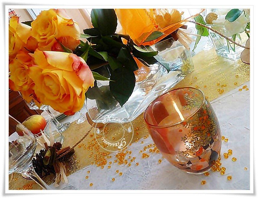 """Table d'automne """" Roses et pommes"""""""