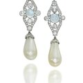 A pair of natural pearl, moonstone and diamond ear pendants