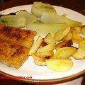 Pommes de terre sautées - poissons panés - fenouil