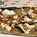 pizza aux aubergines, miel et féta