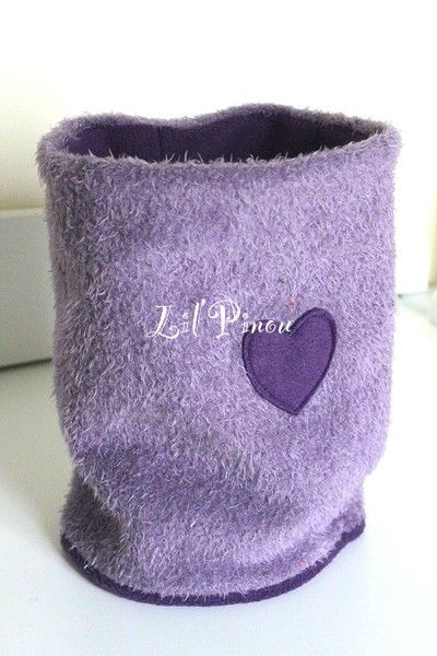 grand snood lavande prune appliqué coeur