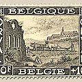 Première série d'Orval, au profit du Fonds de reconstruction de l'abbaye Ruines de l'ancienne abbaye et maquette de la nouvelle sépia 10F + 10F