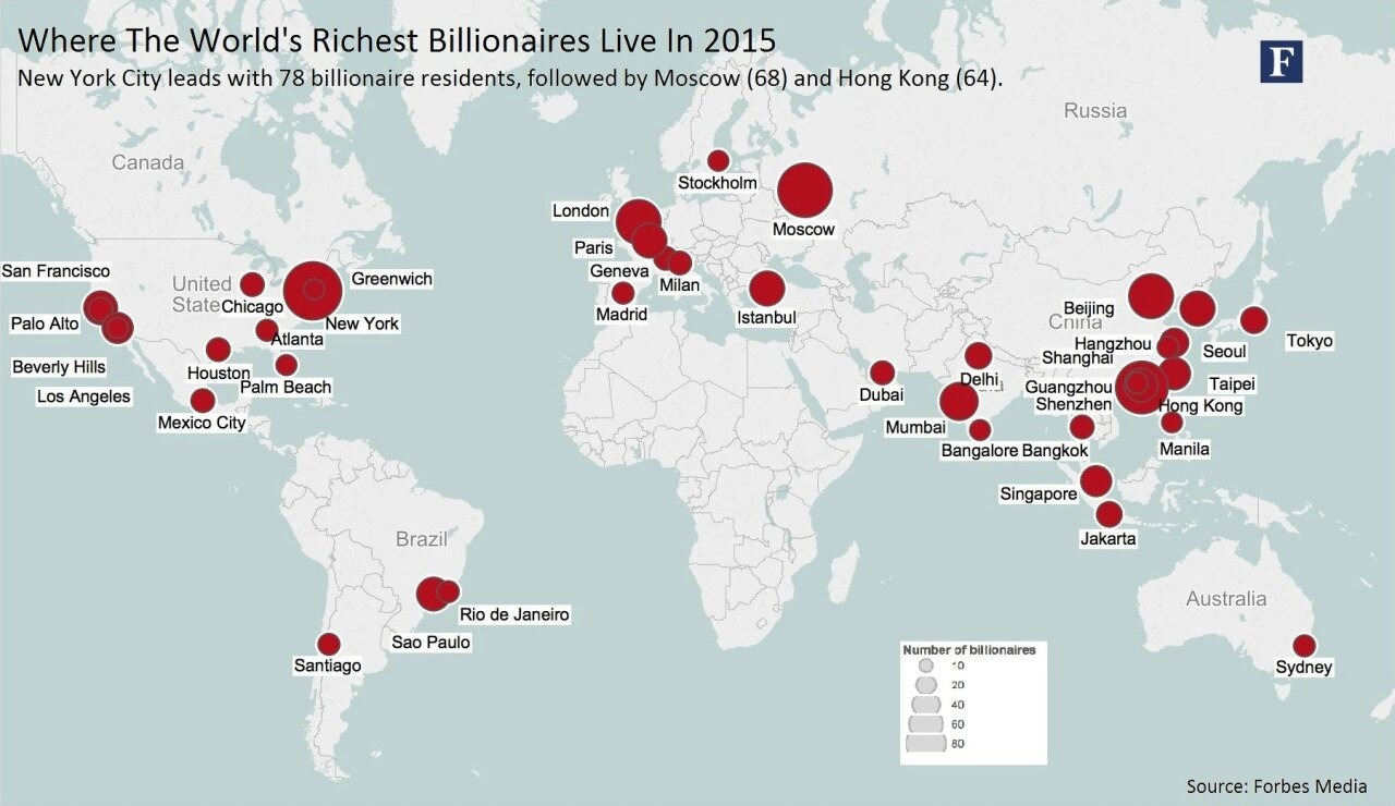 Where the world's richest billionaires live in 2015