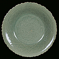 A Longquan Celadon porcelain plate, China, Yuan Dynasty (1279-1368)