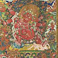 An important and fine painting of chamsing begtse chen, tibet, 19th century