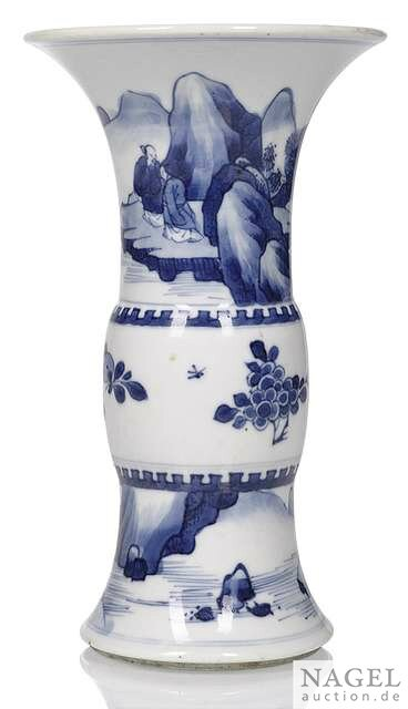 A blue and white porcelain yenyen vase with scholar's in a landscape, China, Kangxi period