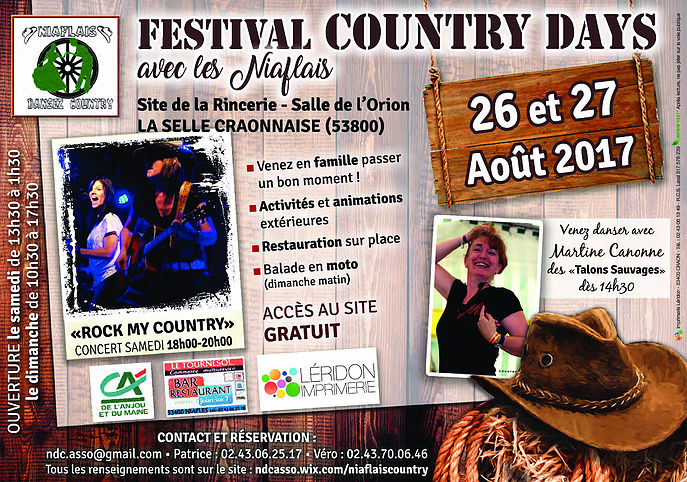 Festival Country Days à LA SELLE CRAONNAISE 26 ET 27 AOUT 2017