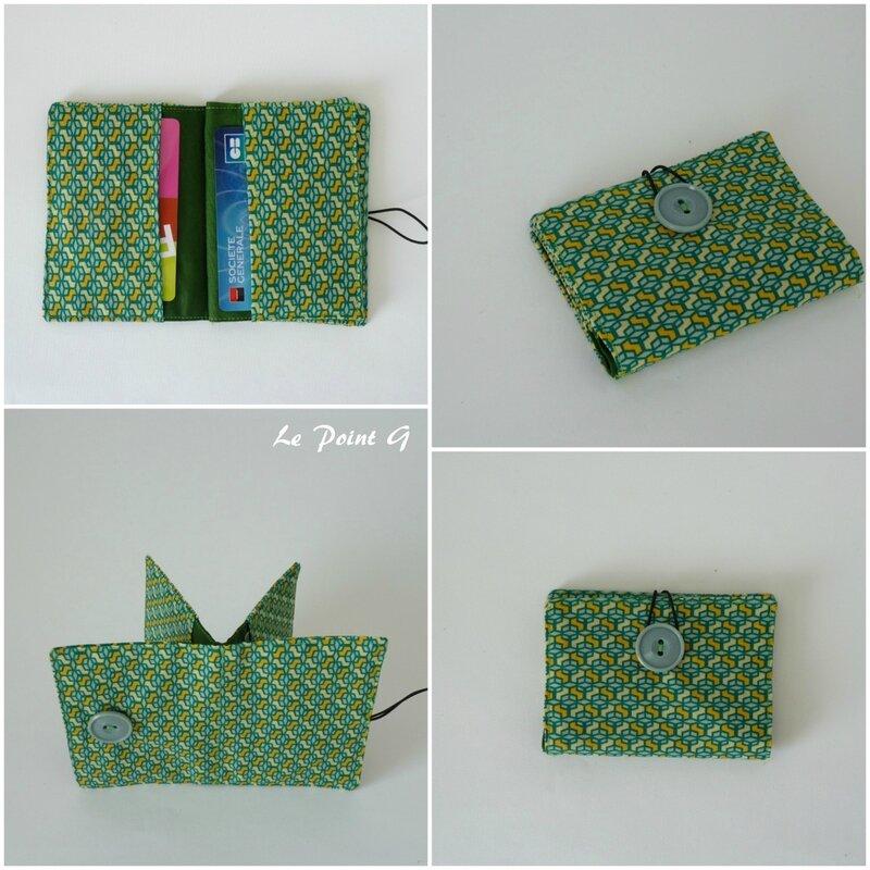 Porte carte graphique géométrique vert bleu jaune fidélité monnaie visite sac sacoche trousse étui pochette