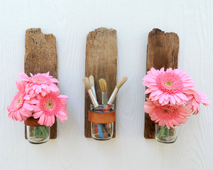 driftwood-vases-on-the-wall Lauries Weddy