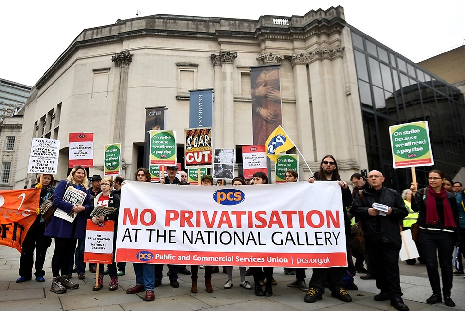 Staff at London's National Gallery go on indefinite strike to protest at the outsourcing of some services