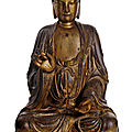 A rare and very large dry-lacquer figure of seated buddha, china, early ming dynasty