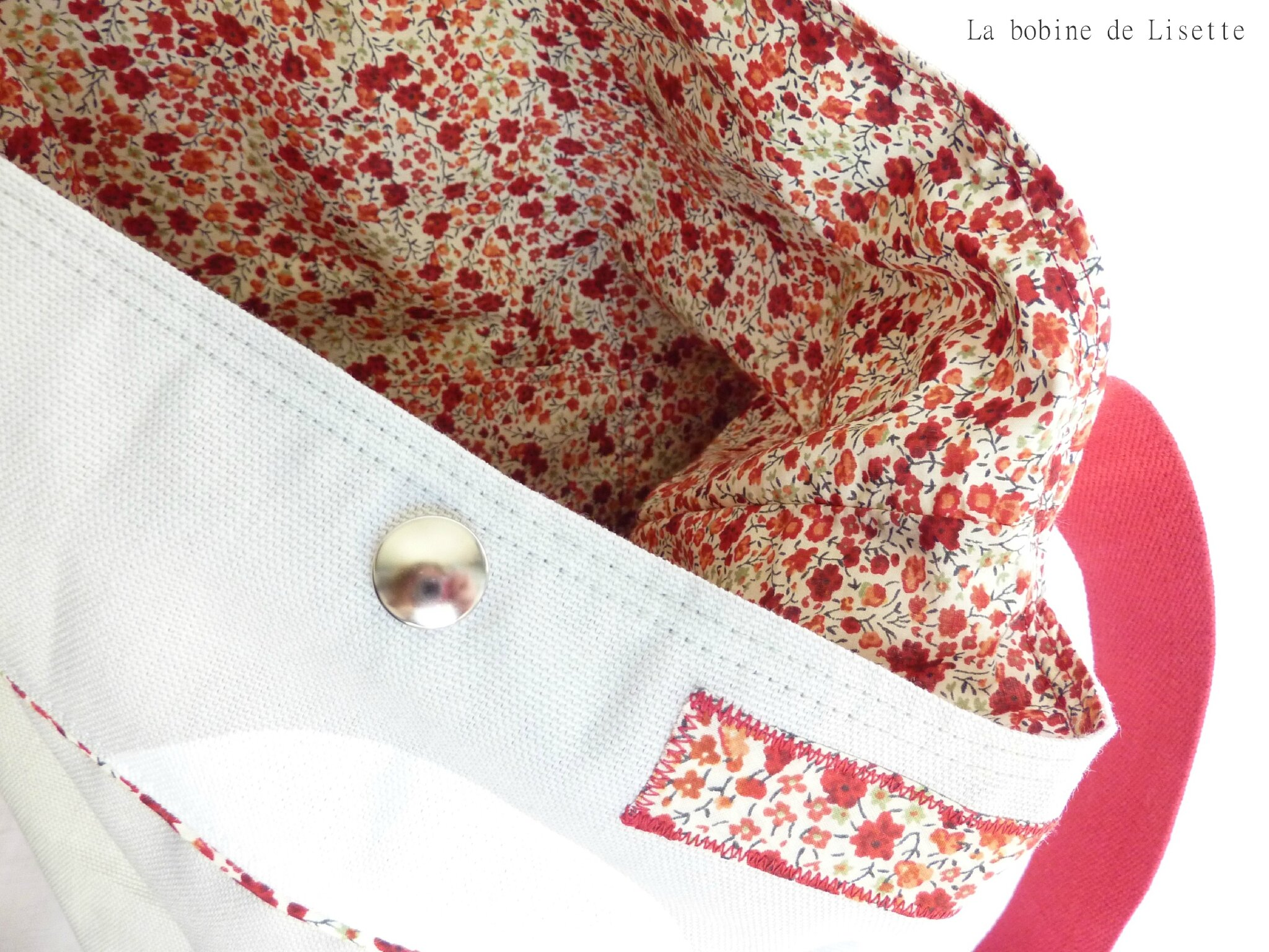 Grand sac en coton à pois et Liberty.