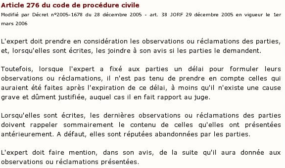 Article 276 du code de procédure civile :
