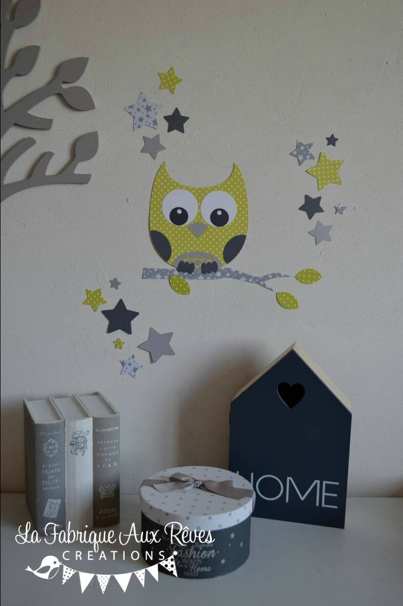 Stickers d coration chambre enfant b b hibou chouette for Stickers hibou chambre bebe