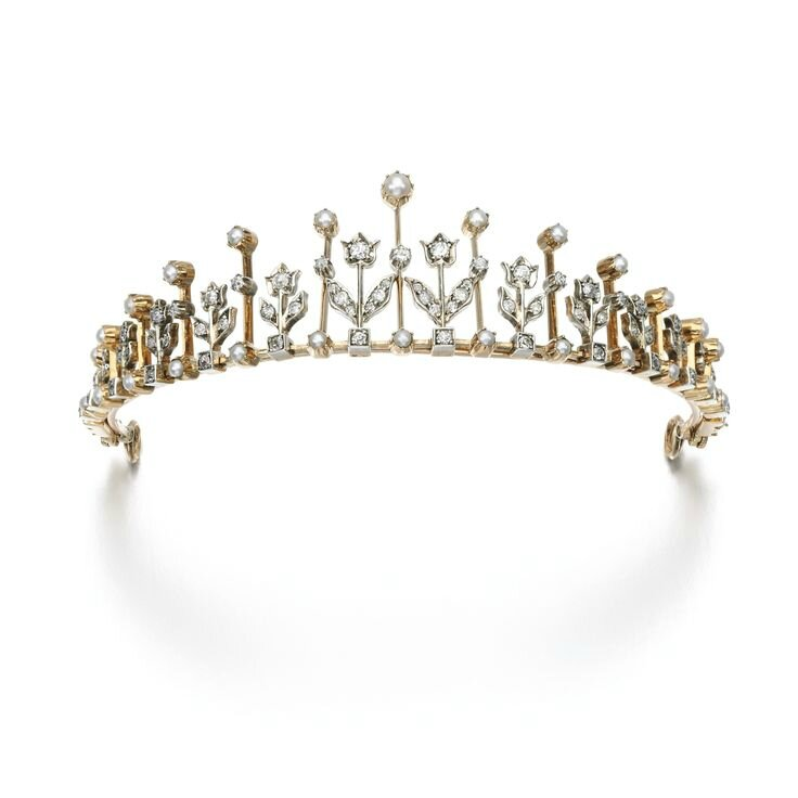 Diamond and seed pearl necklace-tiara, late 19th century