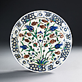 Plat aux tulipes et jacinthes, Iznik, vers 1590