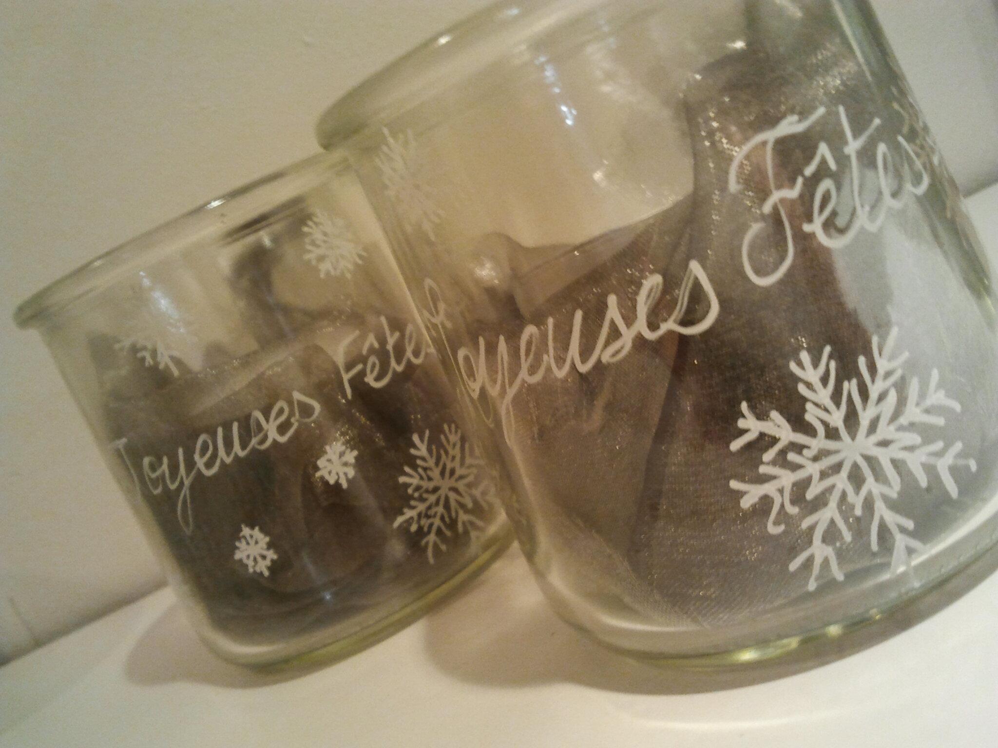 Petits pots avec tissu pour d co de table ou avec bougie for Decoration lumignon 8 decembre