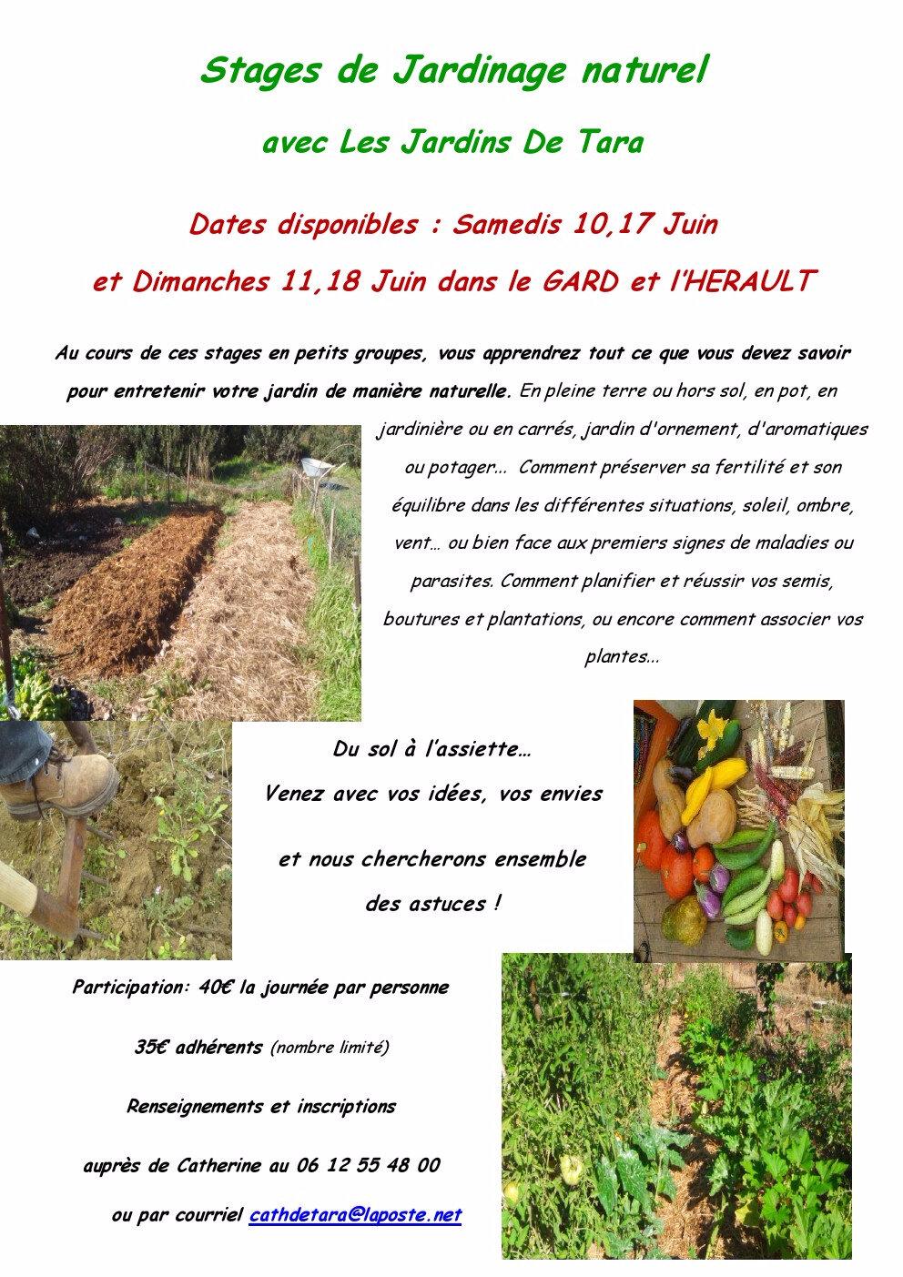Prochaines dates disponibles pour les stages de jardinage naturel avec Les Jardins De Tara dans le Gard et l'Hérault !