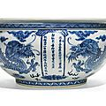 A rare and large dated blue and white 'dragon' censer, qianlong mark and period, dated 1786