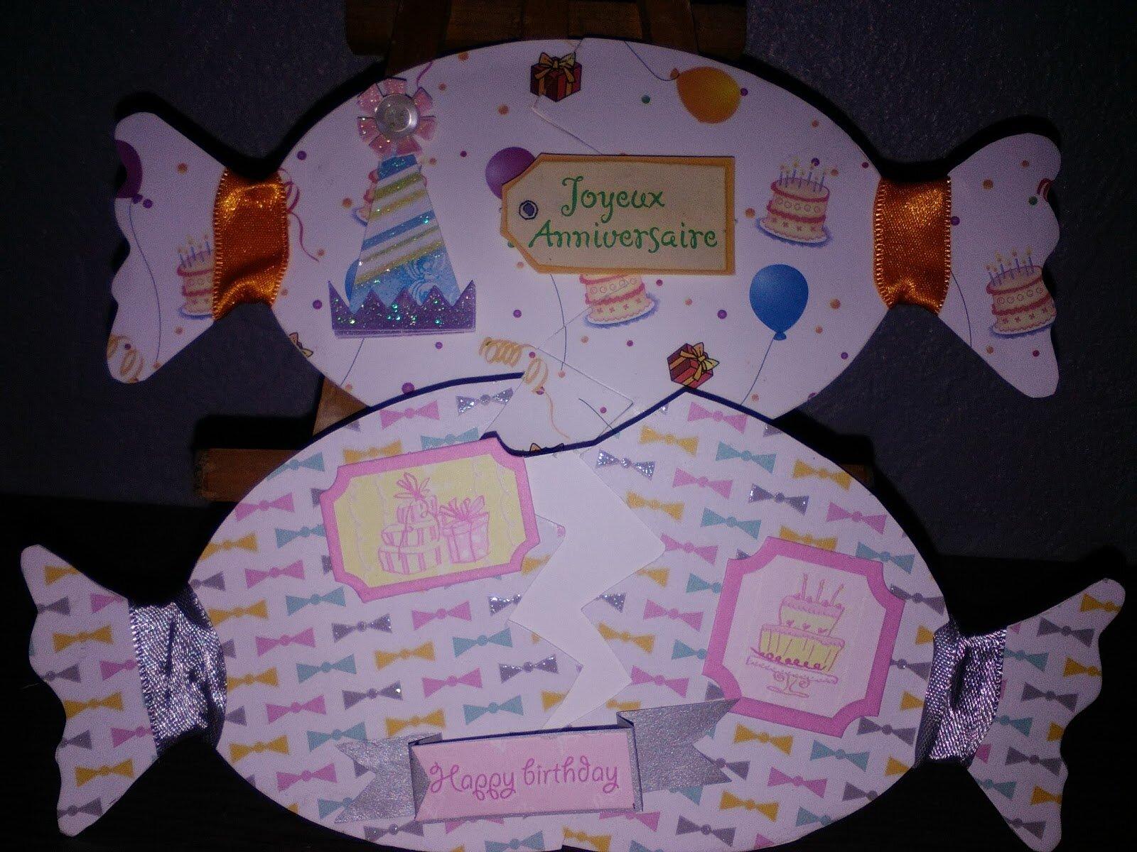 Carte en forme de bonbon