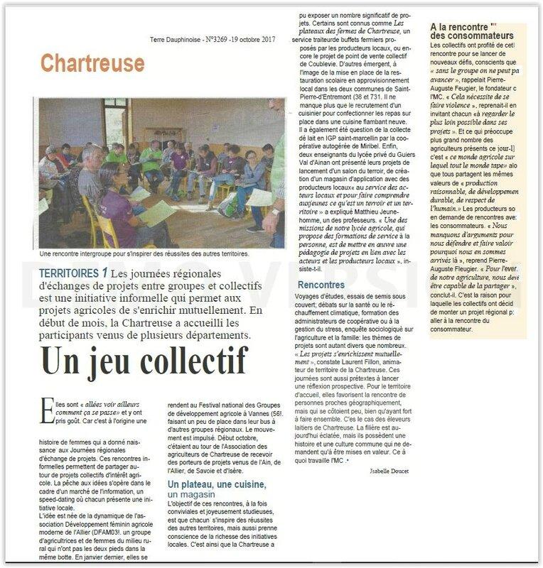 Chartreuse echanges régionaux Terre Dauphinoise
