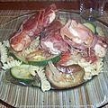 Escalope de dinde en robe rouge, torsades aux légumes du soleil