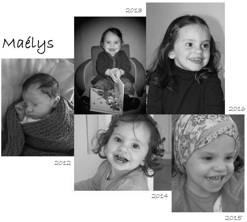 Maelys - Montage photos 1-2-3-4 ans
