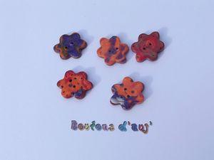 Boutons petites fleurs orange violet Boutons d'auj' H26