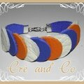 Bracelet cuir blanc, bleu, orange