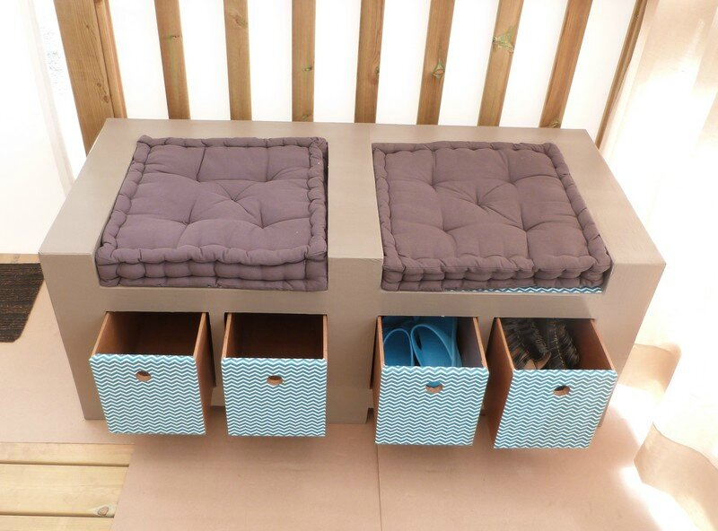meuble banc pour chaussures en carton exoticcreation. Black Bedroom Furniture Sets. Home Design Ideas