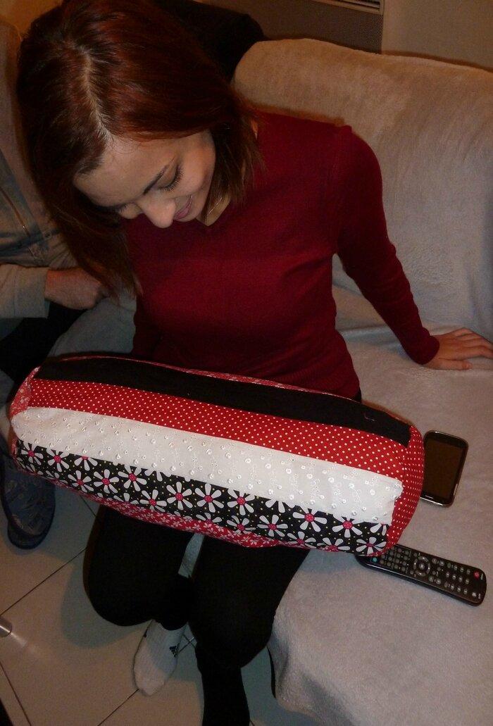 Un mini-polochon en patchwork pour Juliette