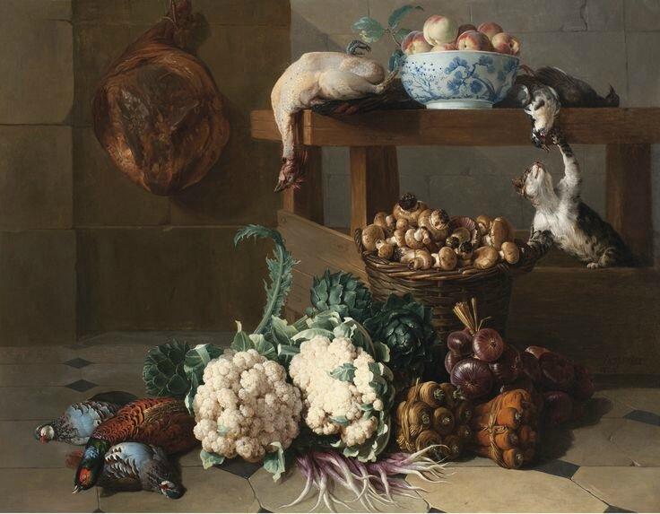 François Desportes (Champigneulle 1661 - 1743 Paris), Garde-manger aux artichauts, choux-fleurs et corbeille de champignons