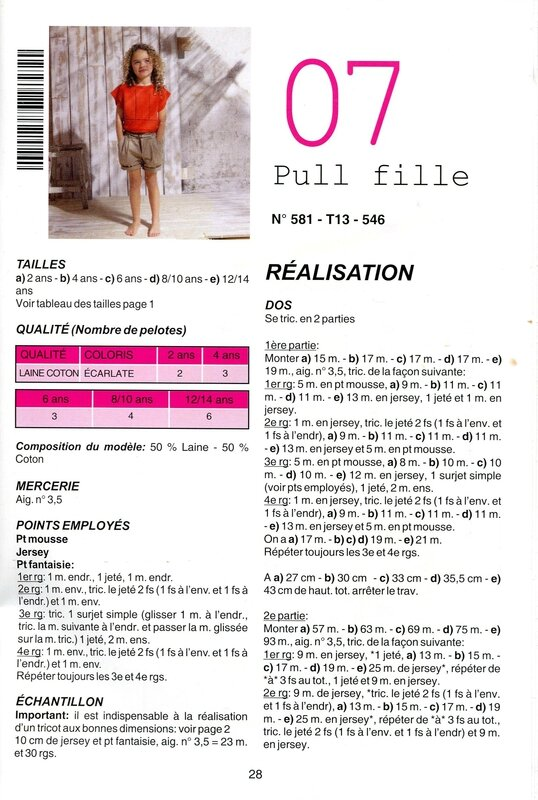 PULL FILLETTE 1 MODELE