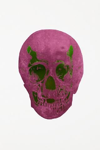 Damien Hirst, The Dead Lime Green Loganberry Pink Skull , 2009