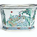 A large and brilliantly enamelled hexagonal doucai jardinière, mark and period of kangxi