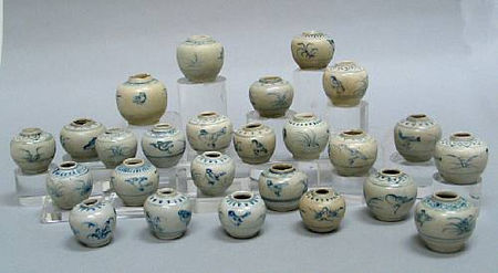 A group of twenty-five blue and white jarlets. Late 15th/Early 1